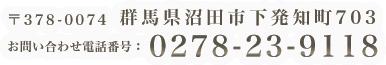 群馬県沼田市下発知町703 お問い合わせ電話番号:0278-23-9118